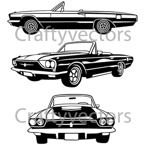 1966 ford thunderbird car vector file
