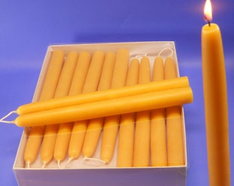 "Bees Wax Tapers - 10 Pair of 7/8"" x 10"" Pure Beeswax Taper Candles, Organic Beeswax Candles, Wedding Candles, Housewarming Gift"