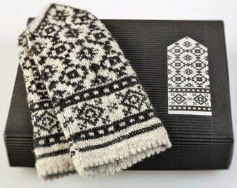 Latvian Mittens DIY Knitting Kit Knit like a Latvian GRAY
