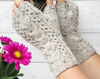 Knit gloves pdf PATTERN easy fingerless gloves tutorial how to make cable knit gloves armwarmers handwarmers pattern cable gloves