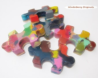 Upcycled Puzzle Piece Crayons - Multi-Colored, Bag of 5 - Recycled Crayons, Party Favor, Stocking Stuffer