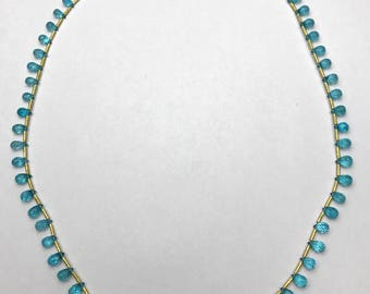 20 inch Natural Blue Apatite Briolette and Sold Gold Necklace