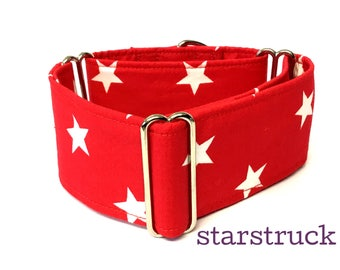 Red Star  Design Martingale Dog  Collar , Greyhound Collar , Whippet Collar , Lurcher Collar , Sighthound Collar