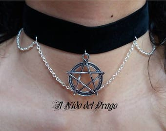 Black velvet choker with small chain and pentacle