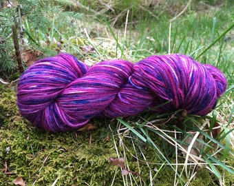 Violet Beauregard, a hand painted sock yarn One of a Kind Dot Dye