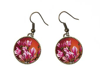 Magnolia flowers on canvas Spring Garden earrings