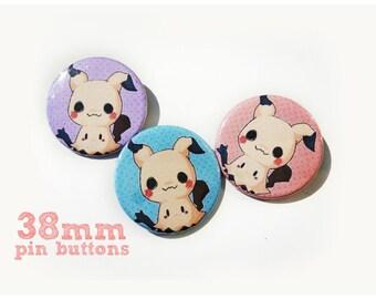 Mimikyu Pokemon pinback button - choose one colour pin