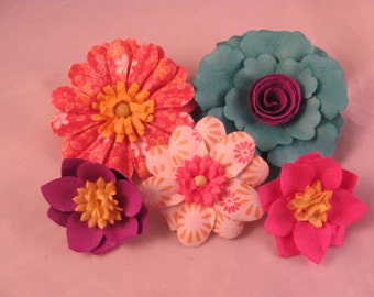 Set of (5) Bright Color Collection Lapel Pin Flowers - Assorted Colors - Everyday / Weddings / Prom