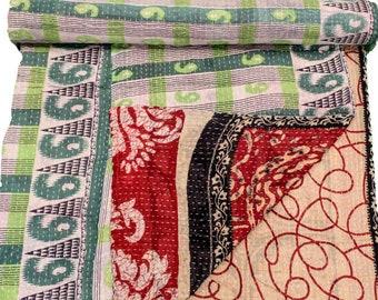 A Vintage Handmade Kantha Quilt, Boho Bedding, Vintage quilt, Kantha Throw, Reversible Quilt VKQ1717