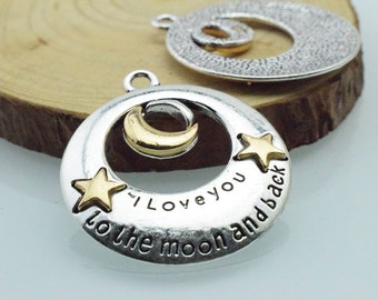 3pcs 34mm Antique Silver Hunge Moon And Star Charm Pendant  c8386
