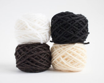 mini yarn skein set in minimal colours - worsted weight, pure wool, 48 grams, 88 yards