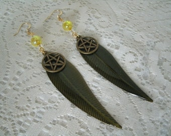 Earth Goddess Pentacle Earrings, wiccan jewelry pagan jewelry wicca jewelry goddess jewelry witch witchcraft pentagram magic pagan earrings
