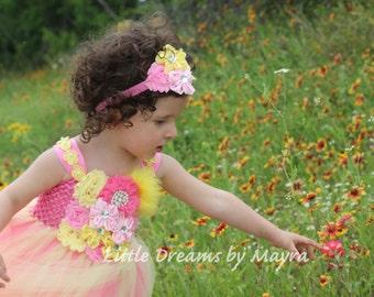 Pink lemonade tutu dress and matching headpiece, Bubblegum pink and yellow flower girl tutu dress, pink and yellow birthday tutu dress