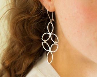 Leaf Earrings Silver Leaf Earrings Silver Clover Earrings Flower of Life silver dangle earrings Long Silver Earrings Boho Earrings Under100