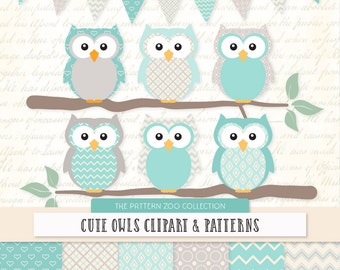 Patterned Aqua Owls Clipart and Digital Papers - Aqua Owl Clipart, Owl Vectors, Baby Owls, Cute Owls
