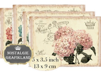 Shabby Chic Maison Hydrangea French Instant Download digital collage sheet P118 Flowers