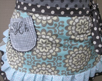 Womens Aprons - Amy Butler Aprons - Wall Flower Aprons - Amy Butler Blue Fabrics - Womens Waist Aprons -  Annies Attic Aprons - Grey Aprons