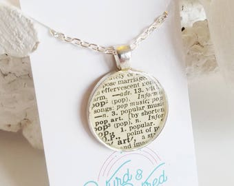 READY TO SHIP Dictionary Necklace - Recycled Book Jewelry - Pop Book Necklace in Silver