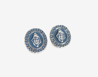 Vintage 60s CUFFLINKS / 1960s Swank Wedgewood Blue DRUID Silver Large Flashy Cufflinks