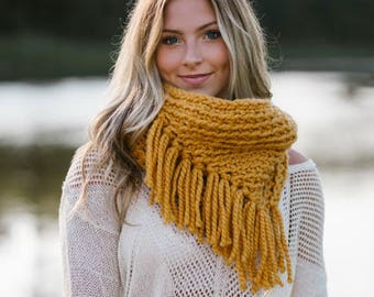 Cowl, Womens's Scarf, winter scarf, wool scarf, women's cowl, fringe scarf, fringe cowl, mustard scarf, neck warmer, wool cowl, gift for her