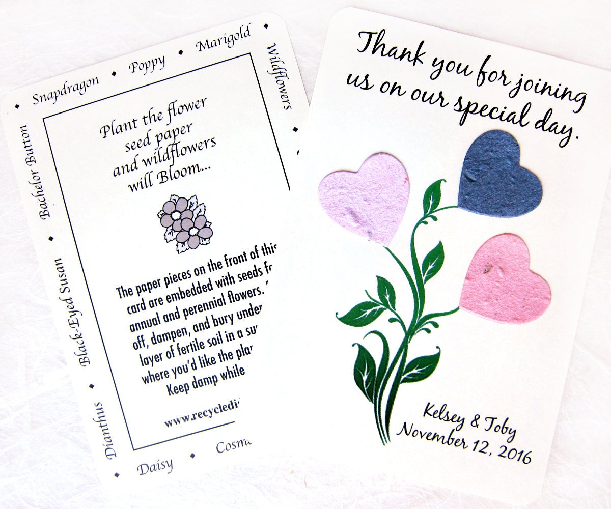 100 Plantable Daisy Wedding Favor Thank You Cards