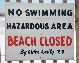 Amity Island Beach Closed Wood Sign, No Swimming Sign, Jaws Amity Island Sign, Reclaimed Wood Sign, Recycled Wood Beach Sign