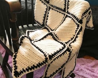 Black and White Diamond Crochet Blanket