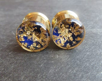 """Ear Plugs MADE TO ORDER Gold and Dark Blue Lapis Lazuli inspired Gauge Tunnels 0g 00g 8mm 10mm 12mm 14mm 16mm 19mm 22mm 25mm 1"""" thru 51mm 2"""""""