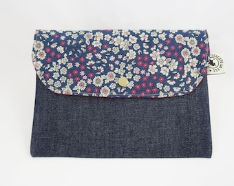 "Clutch in cotton and jeans ""Flowers"""