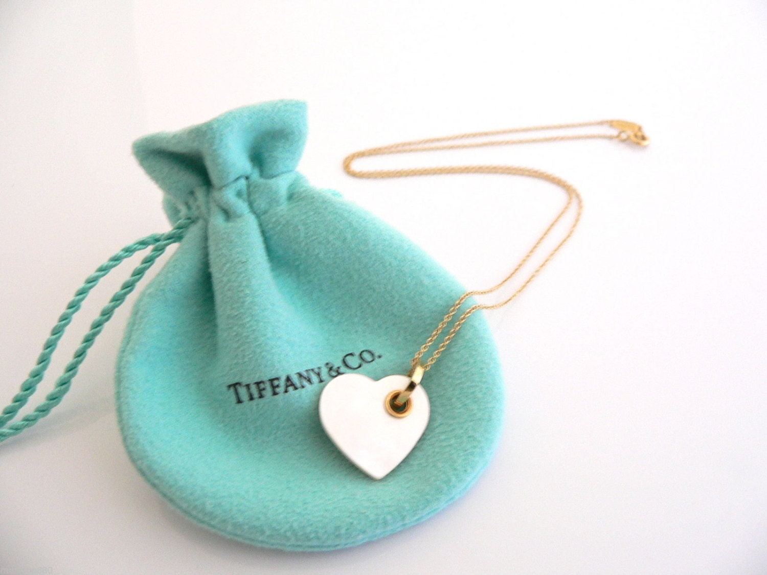 Tiffany co 18k gold mother of pearl double heart necklace zoom aloadofball Images