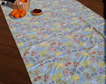 Picnic blanket bicycle blue brown yellow Modern EXTRA LARGE blanket and Bag Beach blanket Summer Picnic blanket Outside blanket GIFT