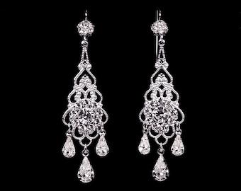 "Bridal earrings, wedding jewelry, rhinestone chandelier earrings, Swarovski, silver, ""Royal Princess"" earrings"