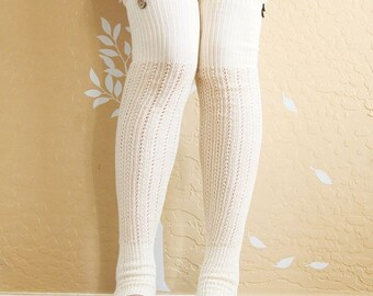 On Sale!Beautiful cream lacy Leg warmers.Ivory boots socks with cute lace,cute Christmas gift for her. long Leg warmers for high boots