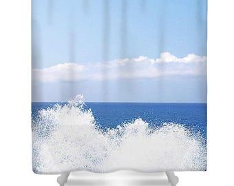 SPLASH! Ocean Sea Photo Shower Curtain Beach Original Photo Printed Shower Curtain Bath Decor Sky Sea Ocean Blue Water White Clouds Splash