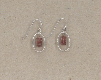 Pink Tourmaline and Hammered Sterling Silver Ovals Earrings Handmade by Chris Hay