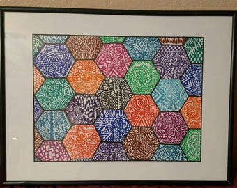 Abstract art.Original drawing and frame included.