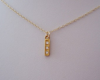 Yellow gold bar with CZ stones small charm necklace, delicate everyday necklace