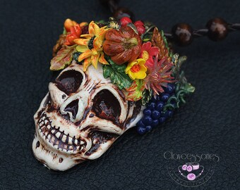 Scull necklace Halloween necklace Statement necklace  Autumn leafs necklace Pumpkin necklace Halloween gift Polymer clay necklace