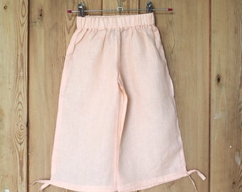 Pale peach linen trousers