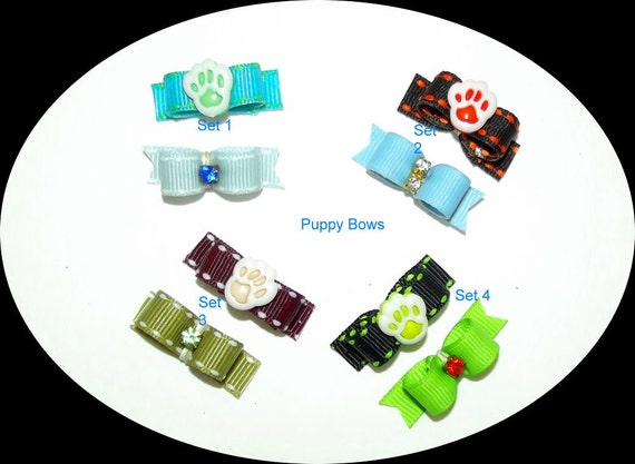 Puppy Bows ~ Tiny sets for boys  BLUE dog pet hair bow - USA made and sold
