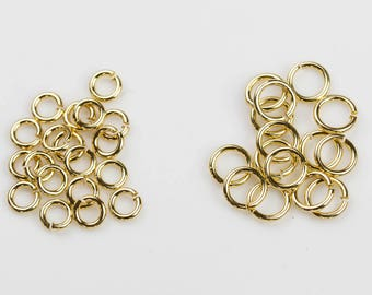 18k Gold Filled Jump Rings 6mm or 8mm. THICK AND STURDY. 18 karat gold-filled.
