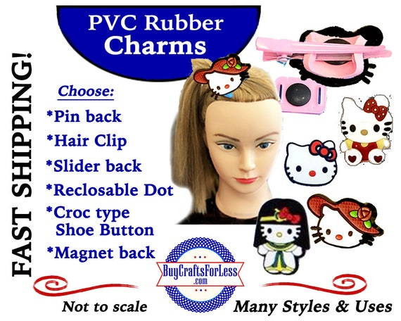PVC Charms, KITTiES, 7 Designs * 20% OFF Any 4 PvC Charms+ShipFREE *Choose back-Button, Pin, Slider, Hair Clip, Reclosable Dot, Magnet