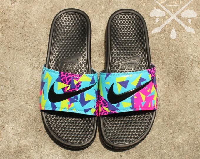 Nike Custom Bel-Air Jordan 5 Fresh Prince Benassi Swoosh Slide Sandals Flip flops Men's