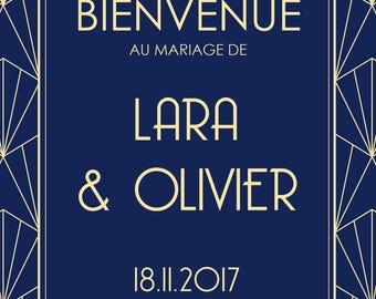Affiche de Mariage - Bienvenue - Art Deco - Personnalisable