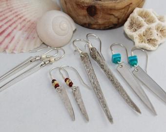 Silver Fork Tine Drop Earrings