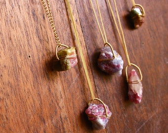 Rough Tourmaline Necklace Wire Wrapped Crystal Simple Necklace Healing Crystals Watermelon Tourmaline Necklace Pink Tourmaline Yoga Jewelry