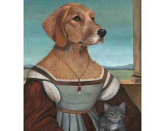 Golden Retriever, Prints, Dog Portrait Clothes, Dressed Up Dogs, Portrait of a Lady