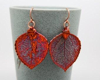 Iridescent Copper Aspen Leaf Earrings