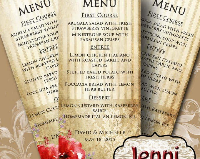 JENNI•Wedding Menu•Printable Digital Images•Weddings•Parties•Bridal Shower•Baby Shower•Birthday•Wedding Decorations