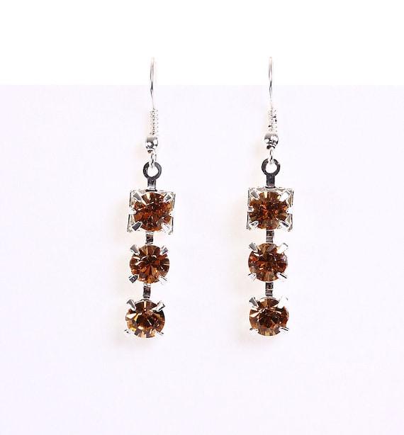 Elegant estate style light topaz rhinestone crystal dangle earrings (618)